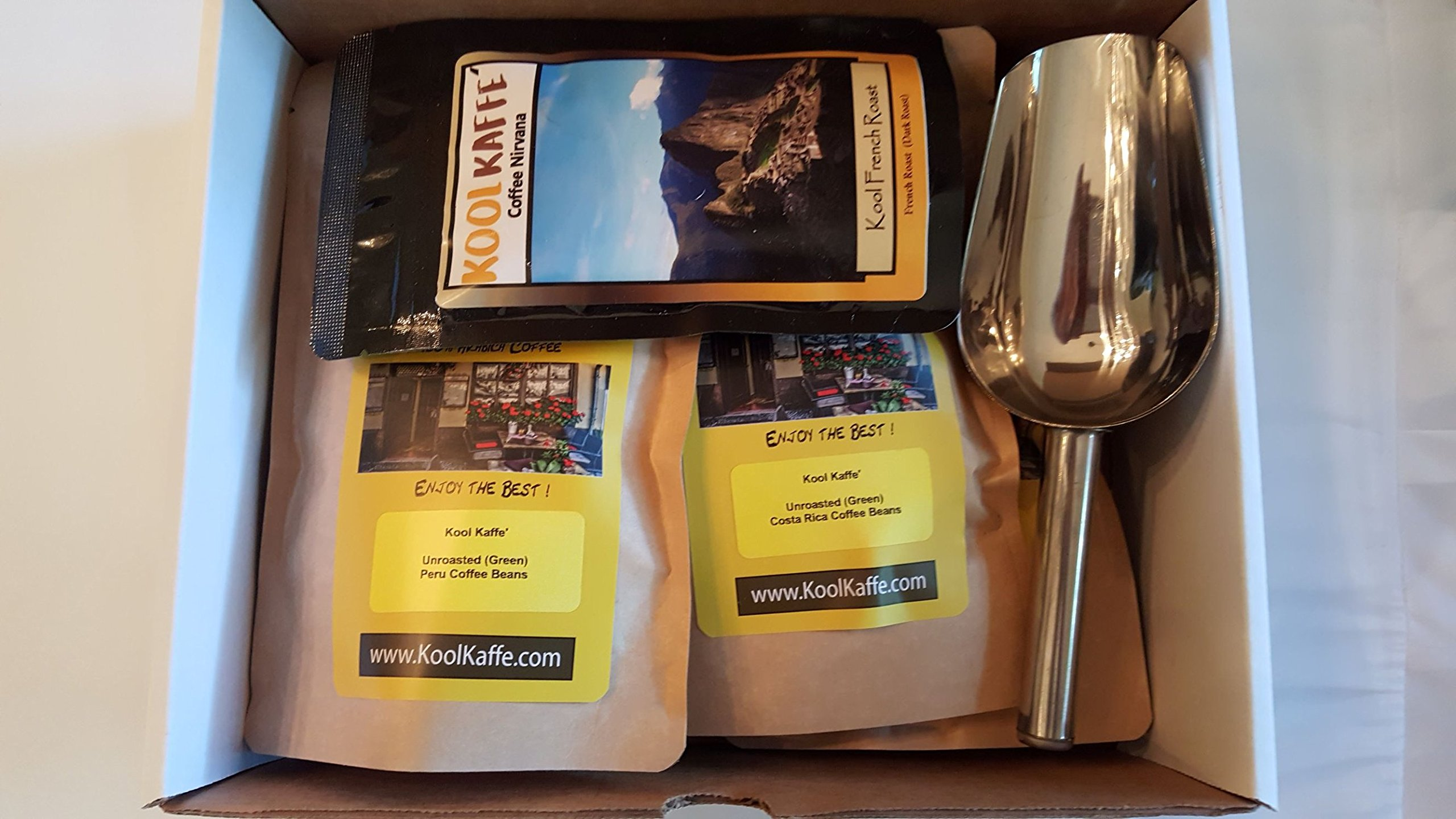 Kool Kaffe' Coffee Lovers Roasters Lab, 4 different 1/2 pound packages of UnRoasted Beans in Box, (Costa Rica, Kenya, Peru, Sumatra) with Coffee Scoop by Kool Kaffe'