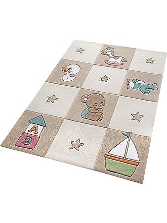 Smart Kids Teppiche: Kinderzimmer Kinderteppich Newborn Beige ...