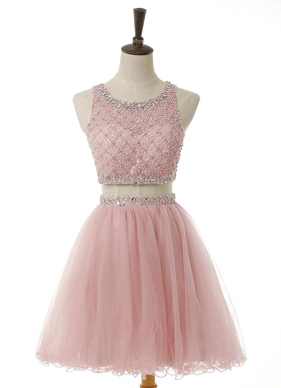 Amazon.com: BessDress Short Two Piece Tulle Prom Dresses Beaded ...
