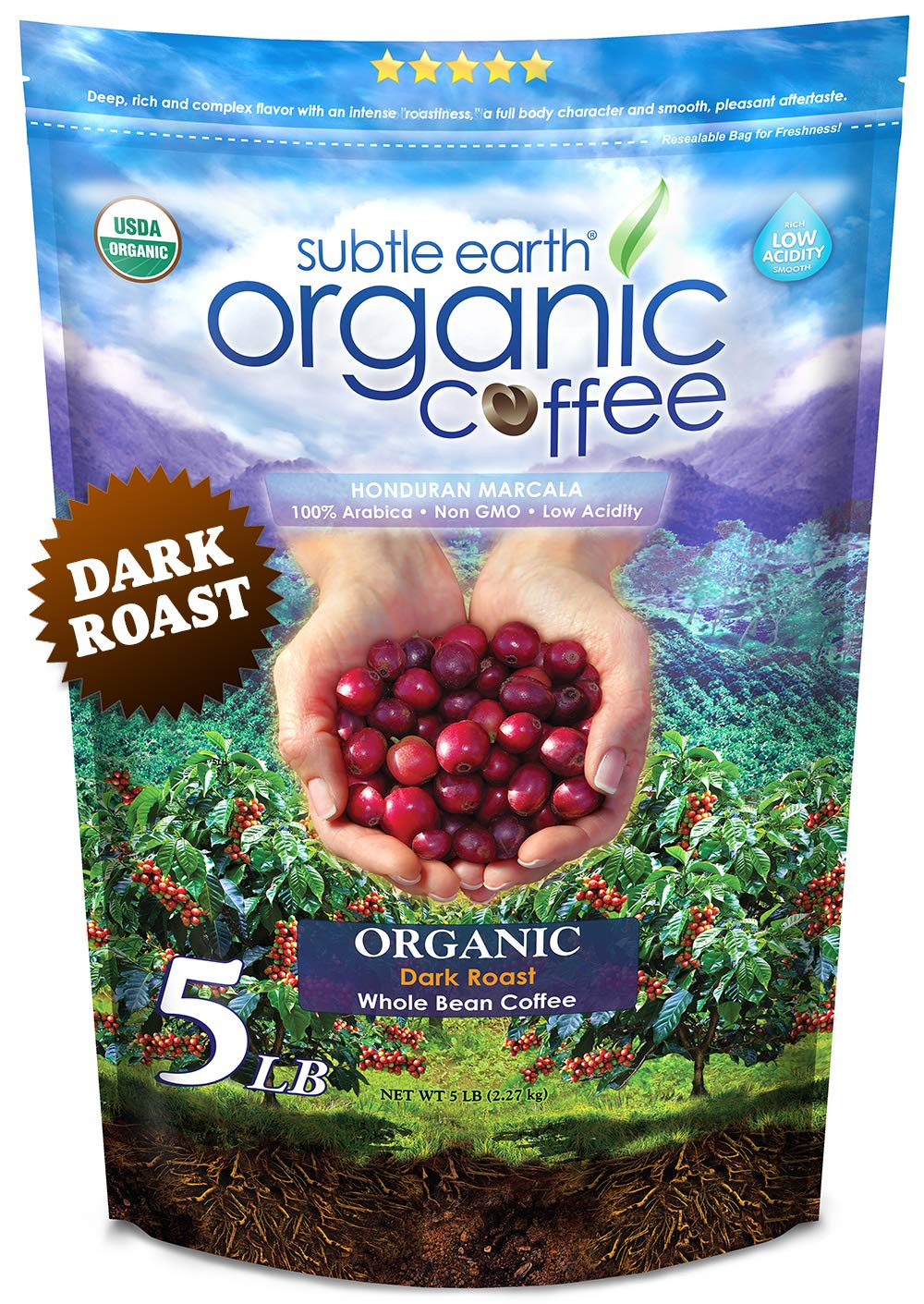 5LB Subtle Earth Organic Coffee - Dark Roast - Whole Bean Coffee