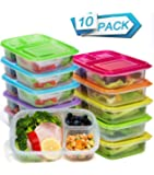 Meal Prep Containers 3 Compartment Food Storage Containers Microwave Dishwasher Freezer Safe (10 pack)