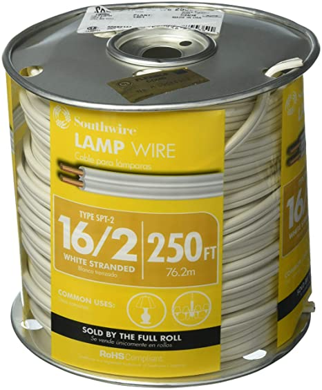 Electric Lamp Copper Wire Cord Black 18 Gauge 250 ft Conductor PVC Insulation