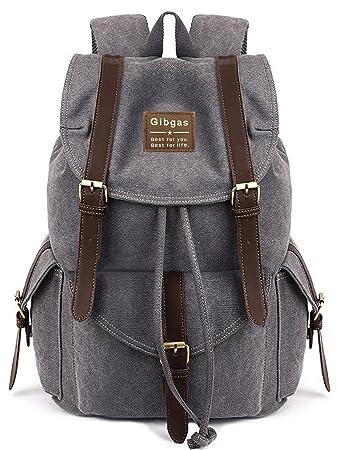 b5cb1bdbf792e Canvas Rucksack Herren Rucksack Vintage Damen Schulrucksack Damen Uni  Rucksack für 14-15.6 Zoll Laptop