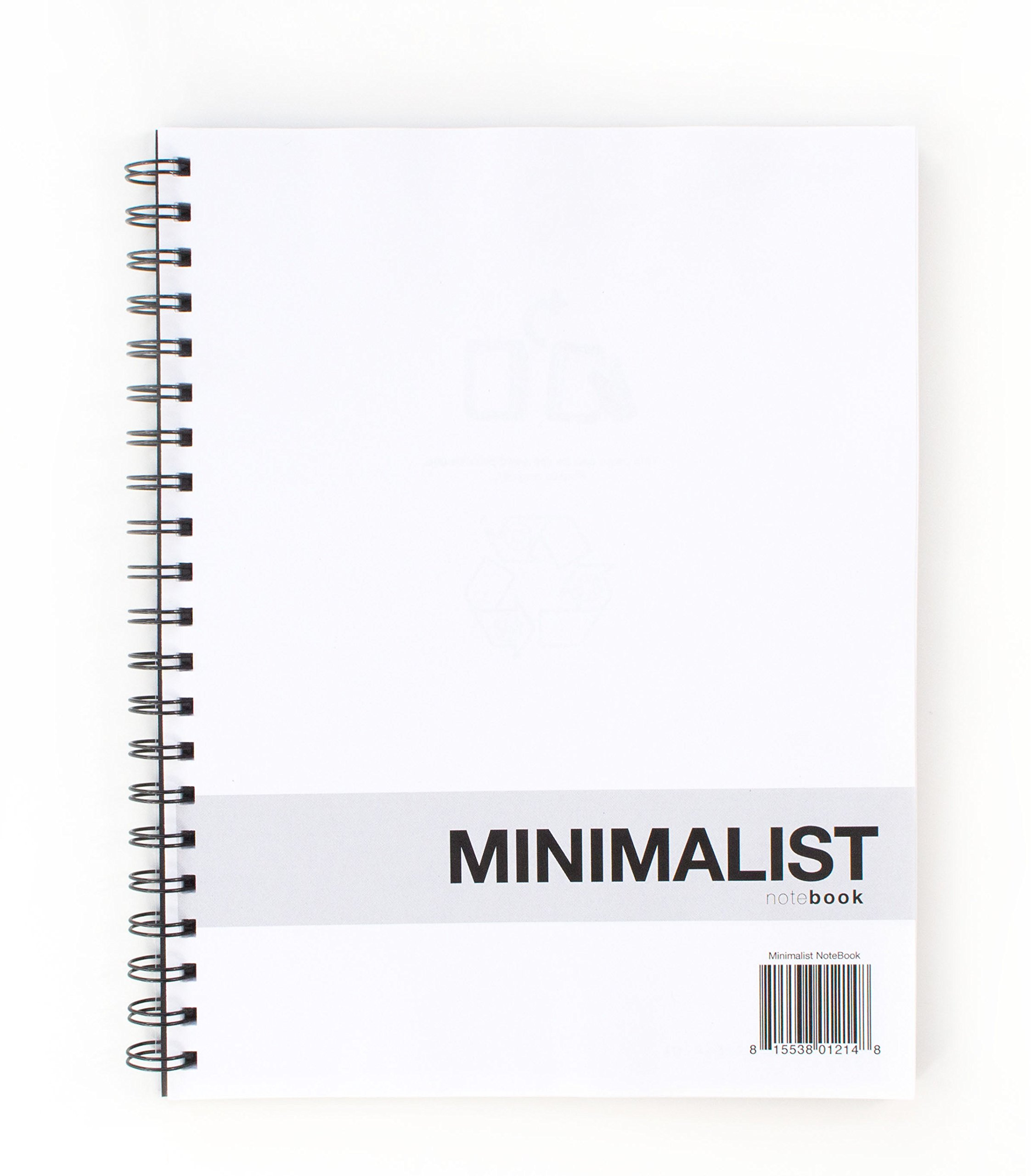 Action Publishing Minimalist NoteBook (8.5'' x 11'') Crisp White Eco-Friendly Paper, Dotted Line Layout