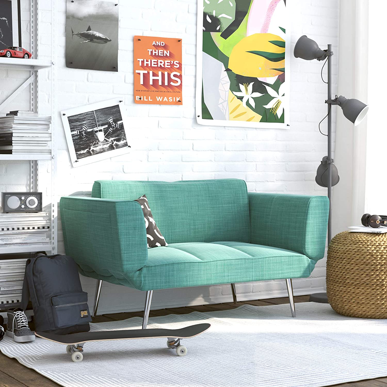 SOFA COUCH FUTON Adjustable Backrest Small Living Room Furniture Black Loveseat