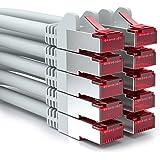 [SET 10 Stück] deleyCON 0,5m CAT6 Patchkabel - S-FTP PIMF - CAT-6 Netzwerkkabel / Ethernetkabel - 2x geschirmt - vergoldete Kontaktflächen - Grau