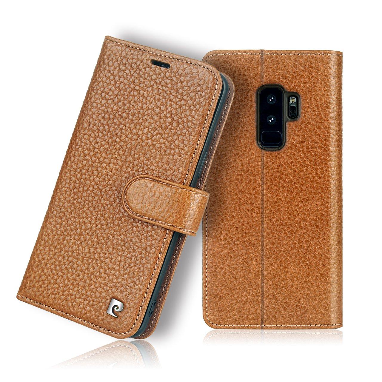 Pierre Cardin Wallet Case Premium Genuine Leather Folio Cover with Credit Card Flip Money Cash Kickstand Detachable Design Slots for Samsung Galaxy S9+/S9 Plus (Brown)