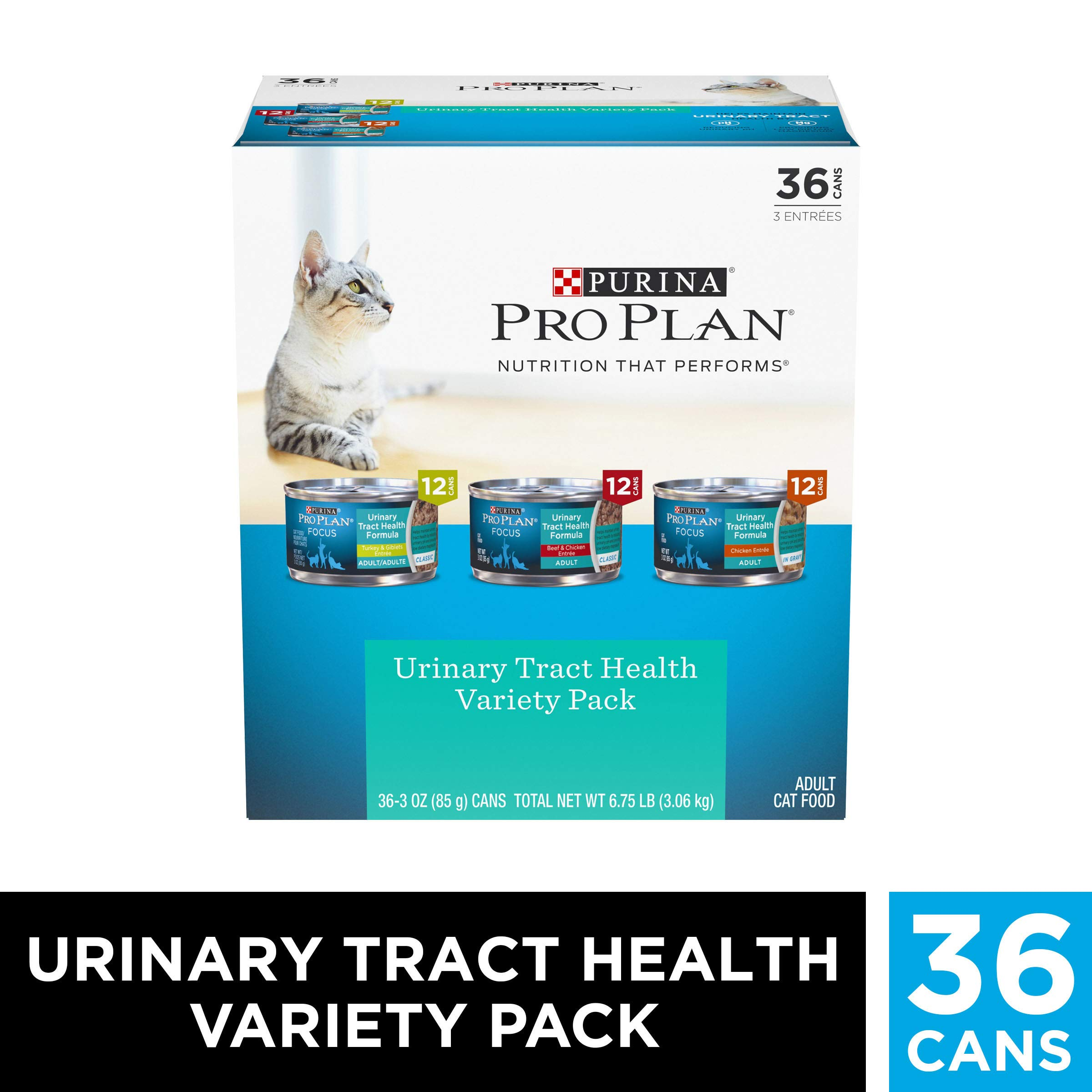 Purina Pro Plan Urinary Tract Health Wet Cat Food Variety Pack, FOCUS Urinary Tract Health Formula - (36) 3 oz. Cans by PURINA Pro Plan