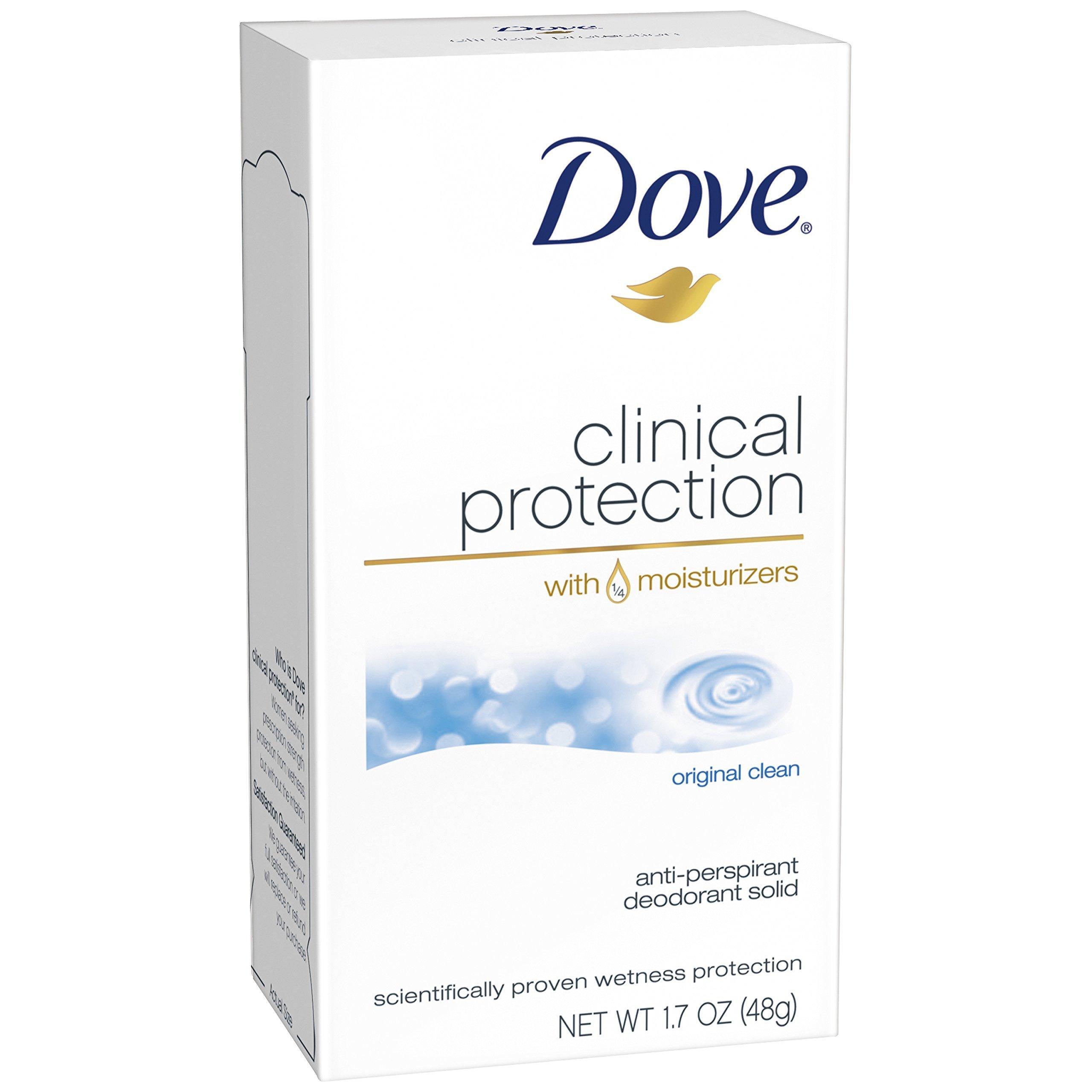 Dove Clinical Protection Antiperspirant Deodorant, Original Clean 1.7 oz