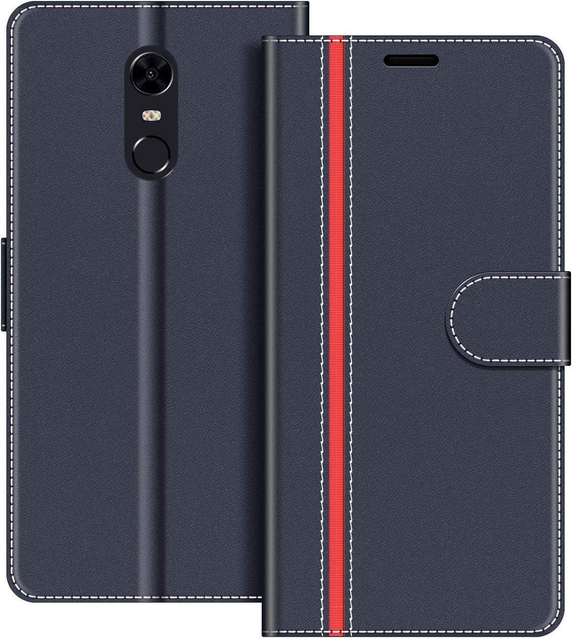 COODIO Funda Xiaomi Redmi 5 Plus con Tapa, Funda Movil Xiaomi Redmi 5 Plus, Funda Libro Xiaomi Redmi 5 Plus Carcasa Magnético Funda para Xiaomi Redmi 5 Plus, Azul Oscuro/Rojo