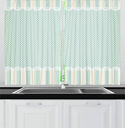 Sensational Ambesonne Shabby Chic Kitchen Curtains Traditional Old Fashioned Vertical Stripes Ornaments And Dots Window Drapes 2 Panel Set For Kitchen Cafe 55 Download Free Architecture Designs Xerocsunscenecom