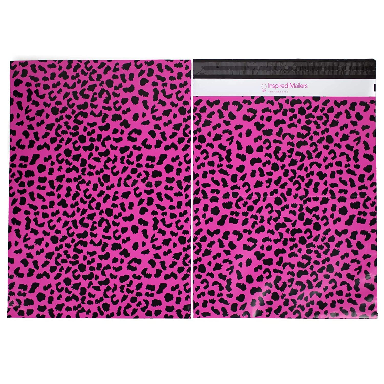 Inspired Mailers - Poly Mailers 10x13 - Hot Pink Cheetah - Choose Between  6x9, 10x13 and 14 5x19 Sizes - 3 15mil Unpadded Shipping Bags (10x13, 100