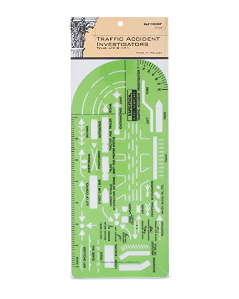 Rapidesign Traffic Accident Investigator Large-Size Template, 1 Each (R131)