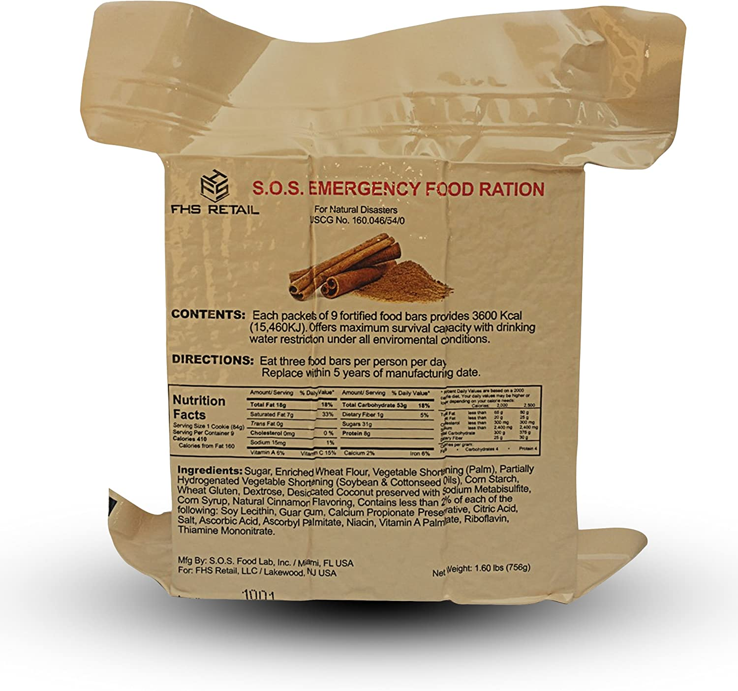 S.O.S. Rations Emergency 3600 Calorie Cinnamon Flavor Food Bar - 3 Day / 72 Hour Package with 5 Year Shelf Life- 5 Packs