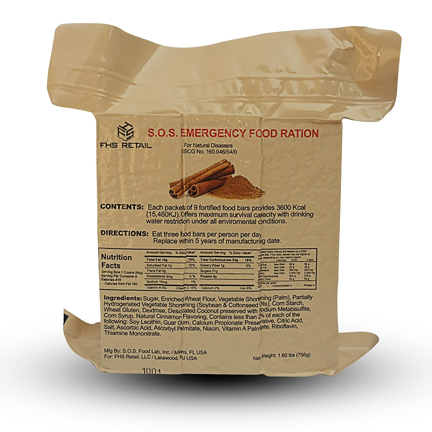 S.O.S. Rations Emergency 3600 Calorie Cinnamon (10 Pack) SOS Food Labs Inc.