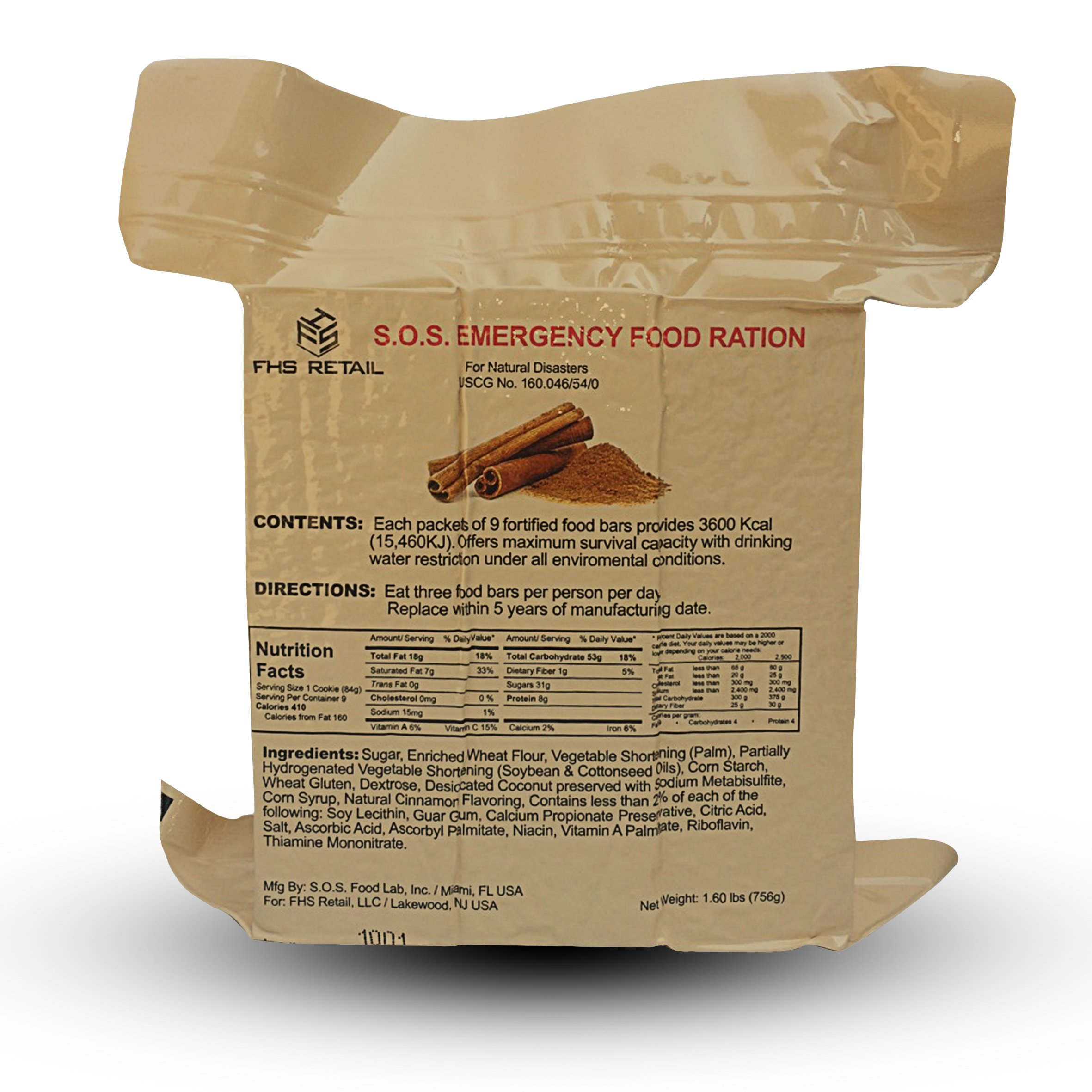 S.O.S. Rations Emergency 3600 Calorie Cinnamon Flavor Food Bar - 3 Day / 72 Hour Package with 5 Year Shelf Life- 20 Packs by  SOS Food Labs, Inc.