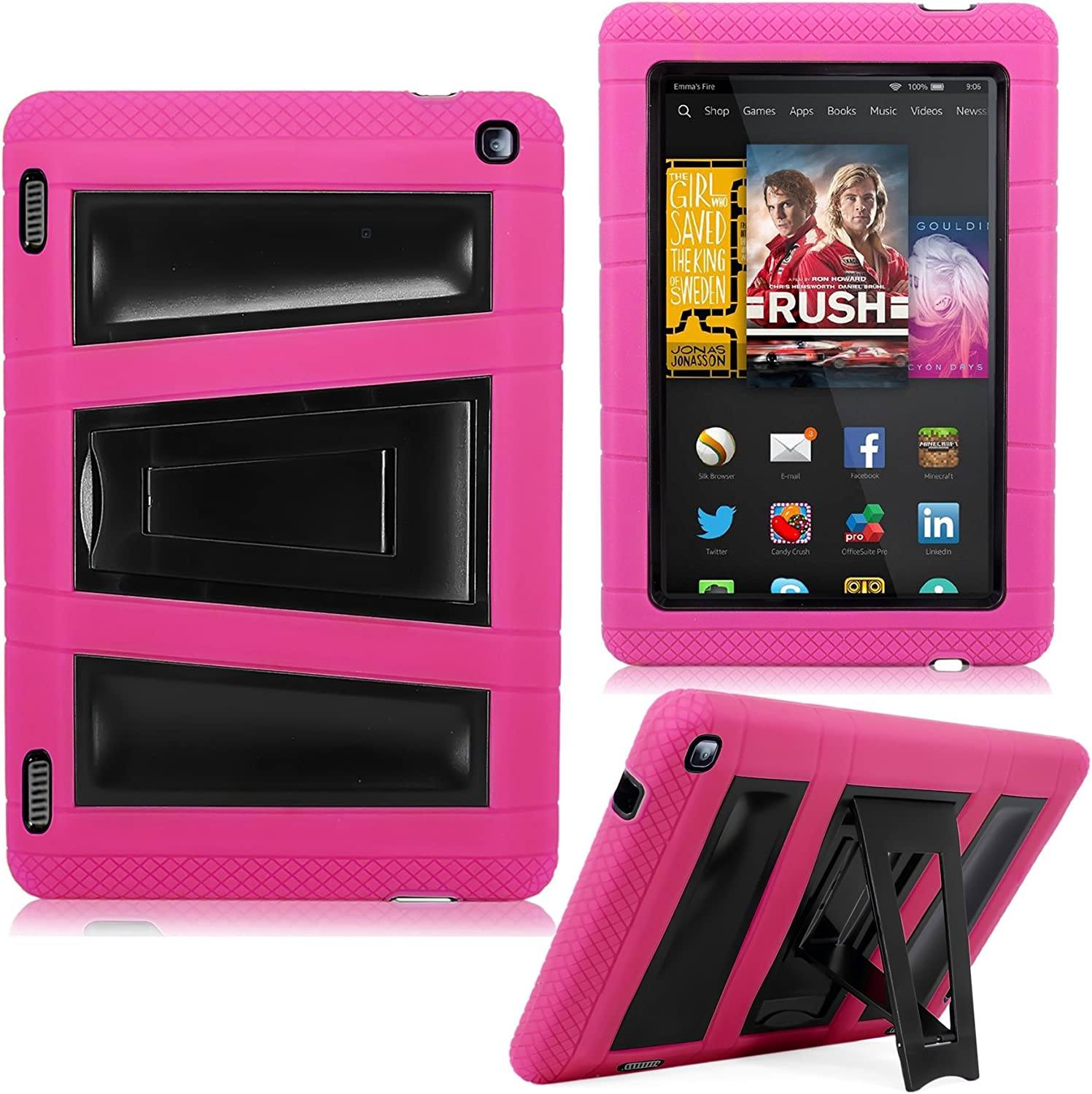 Amazon Com Kindle Fire Hd 7 2014 Case Cellularvilla Hybrid Armor Hard Soft Heavy Duty Dual Layer Combo Case Cover With Kickstand For Amazon Kindle Fire Hd 7 Inch 2014 4th Generation