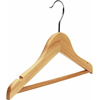 10 Childrenu0027s Natural Wooden Coat Hangers With Notches And Bar For Kids  Clothes, Suits