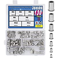 Juasky 130pcs M3 M4 M5 M6 M8 M10 M12 Stainless Steel Rivet Nuts, Threaded Rivetnut Insert Nutserts Assortment Kit