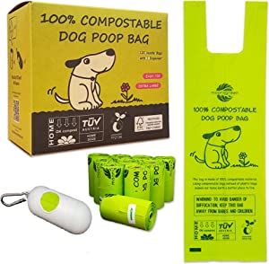 moonygreen Dog Poop Bag with Easy Tie Handles, Home Compostable Pet Waste Bags, Vegetable-Based Eco-Friendly, Unscented, Extra Thick and Long, Leak Proof, Fits for Dogs and Cat Scoops