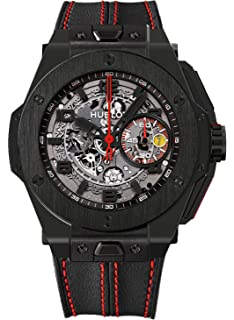 Hublot Ferrari All Black Automatic Openwork Dial Black Ceramic Mens Watch 401.CX.0123