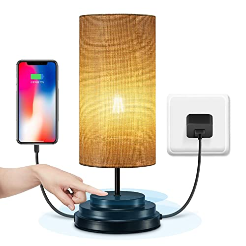 Keymit 100 Fully Dimmable Touch Bedside Lamp – USB Powered Table Lamps for Bedrooms – Black Lamp – 2A USB Charging Port – Nightstand Lamp Minimalist Modern Lights for Living Room – USB Adapter