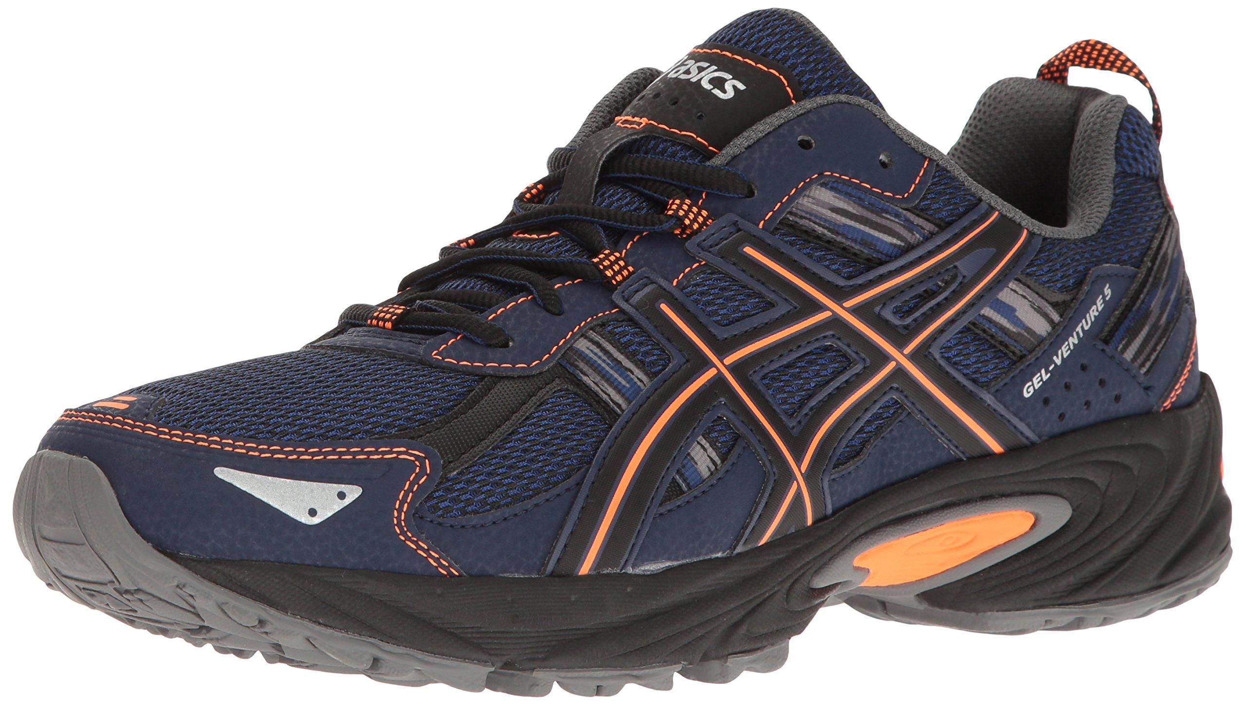 ASICS Men's Gel-Venture 5 Trail Runner, Indigo Blue/Hot Orange/Black, 8 M US