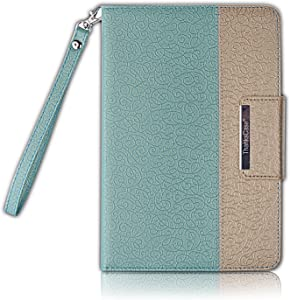 Thankscase Case for iPad Mini 4, Rotating Case Cover for Ipad Mini 4 with Wallet and Pocket with Hand Strap with Smart Cover Function for iPad Mini 4 2015 (Gold Jade)