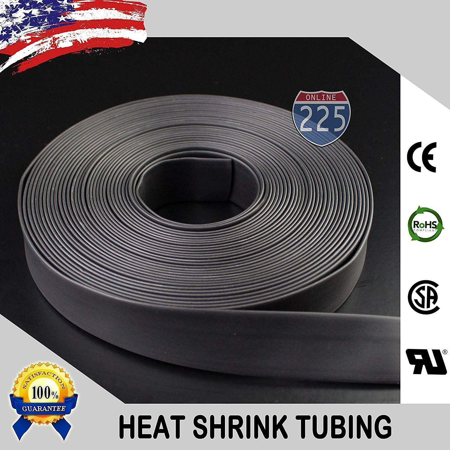 Wire Conduit 50 FT Feet Black 1 1/2'' 38mm Polyolefin 2:1 Heat Shrink Tubing Tube Cable US UL