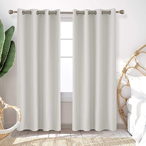 Deconovo Blackout Curtains Thick Noise Cancelling Grommet Room Darkening Curtains Faux Linen Bonding Microfiber Fabric Window Curtain Panel