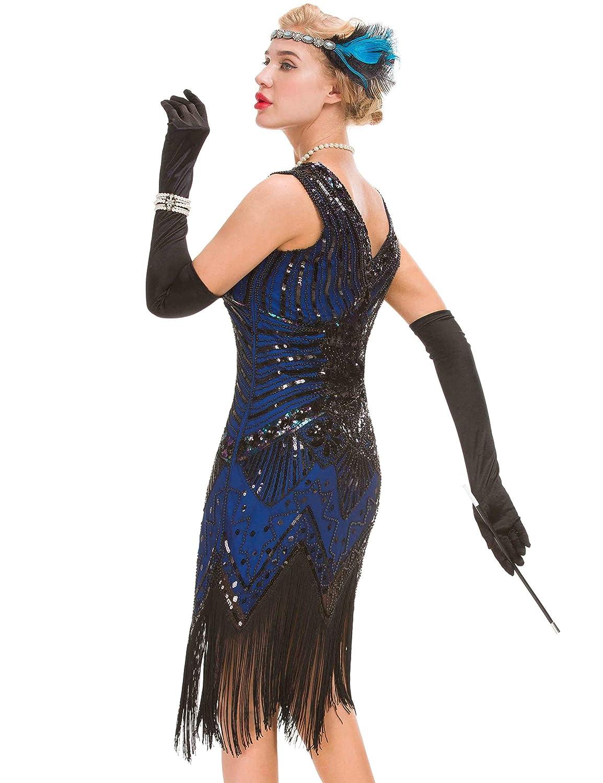 Vestido Gatsby Vintage Art Déco para Mujer - Vestido Estilo Flamenco de los años 20: Amazon.es: Ropa y accesorios