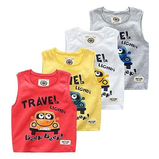 6d18e4490 Amazon.com: vinnytido Summer Baby Boys Sleeveless Tee Cotton O-Neck Top T-Shirt  Carton Infant Vest …: Clothing