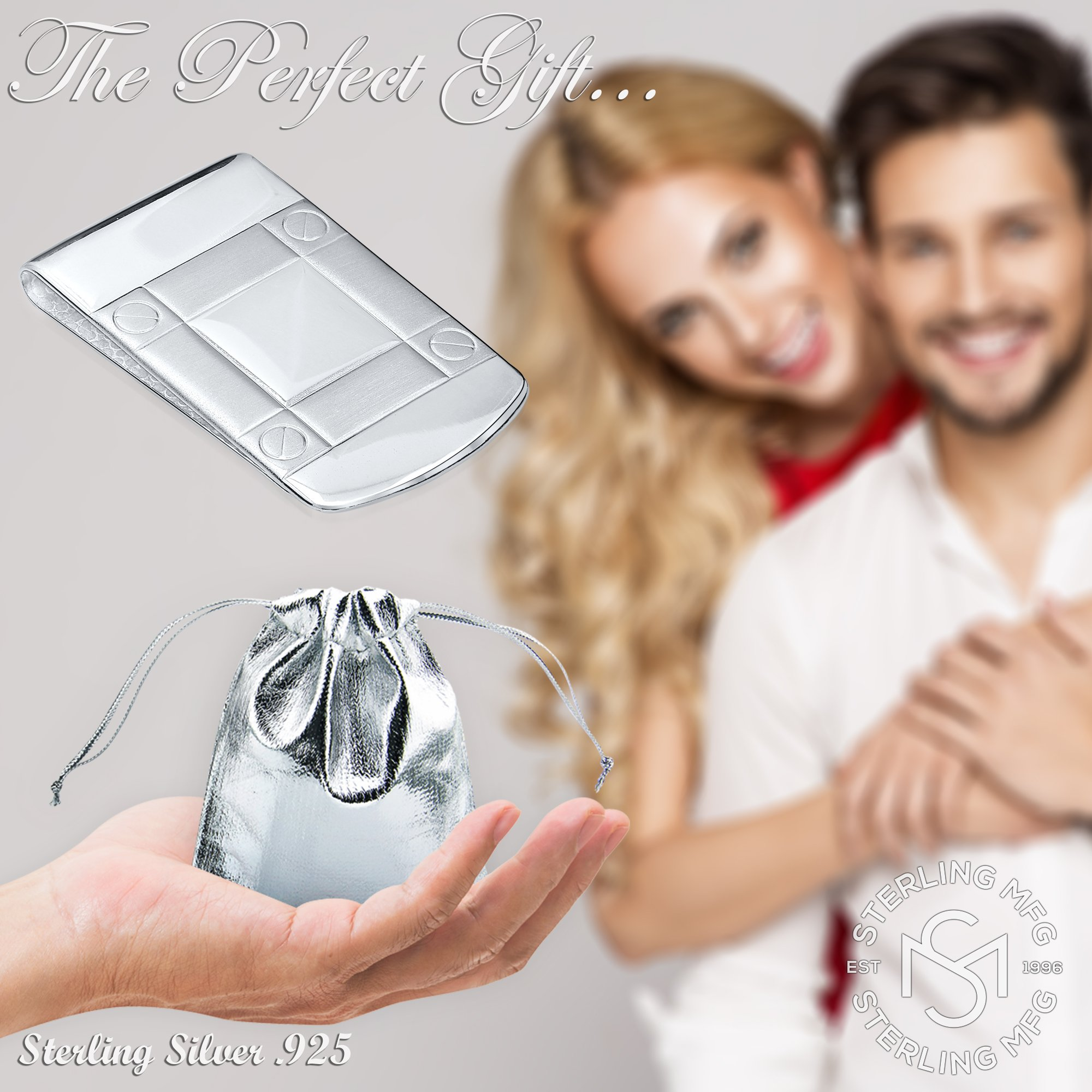 Sterling Silver .925 Wide Solid Design Engravable Money Clip, Designed and Made In Italy. By Sterling Manufacturers by Sterling Manufacturers (Image #6)