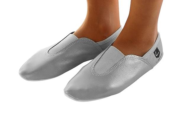 Lappa.de 248GP Gymnastikschuhe, Ballettschuhe, Schläppchen, Turnschläppchen, Tanzschuhe mit Gummipads. Gr. 30-44 Silber (34)