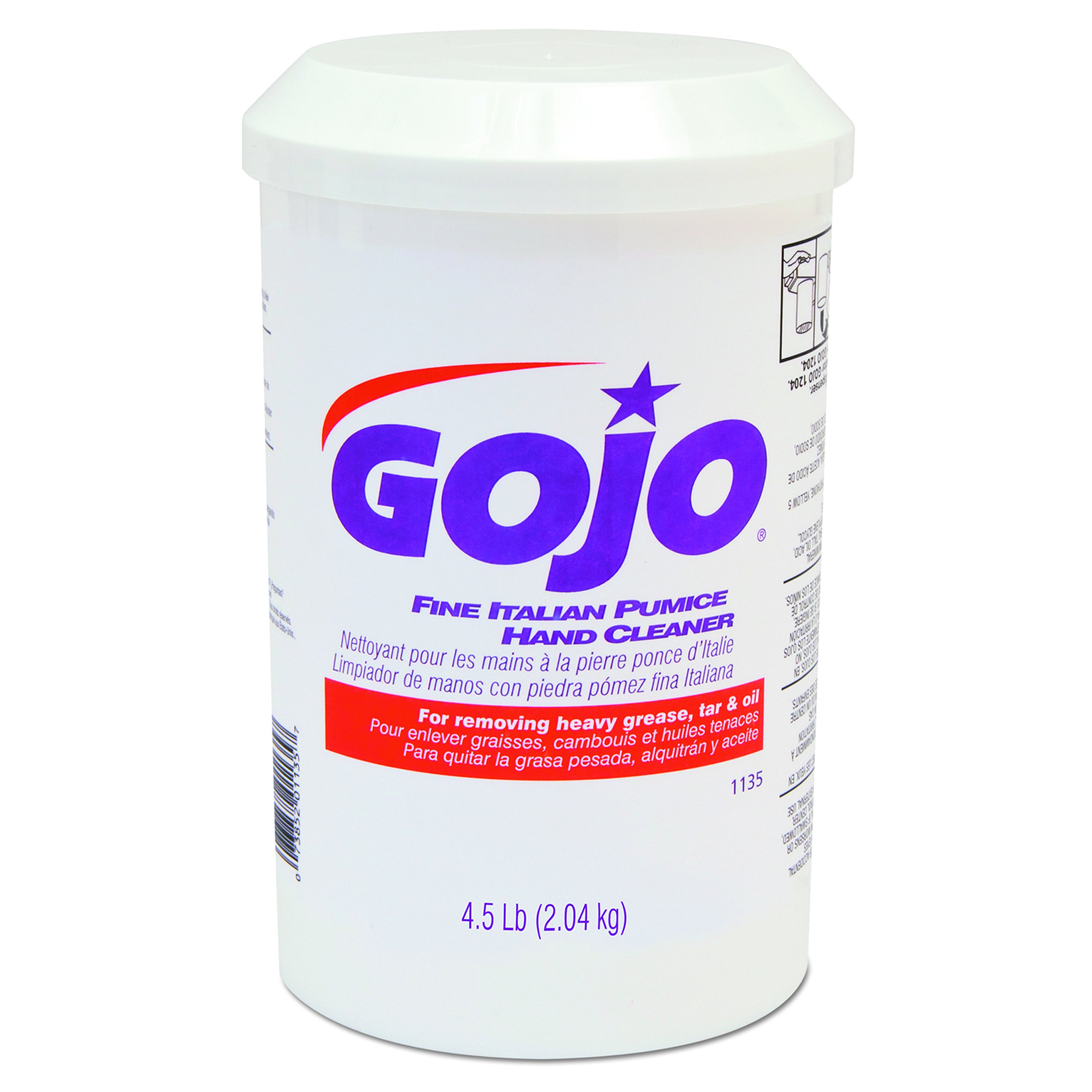 GOJO 113506 Fine Italian Pumice Hand Cleaner, Lemon, 4 1/2 lb Cartridge (Case of 6)