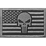 WZT Punisher American Flag Patch Military Patch / Morale Patches(gray)