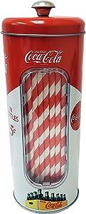 The Tin Box Company Coke Holder Tin with 20 Paper Straws Inside, 3-3/8 x 8-1/4