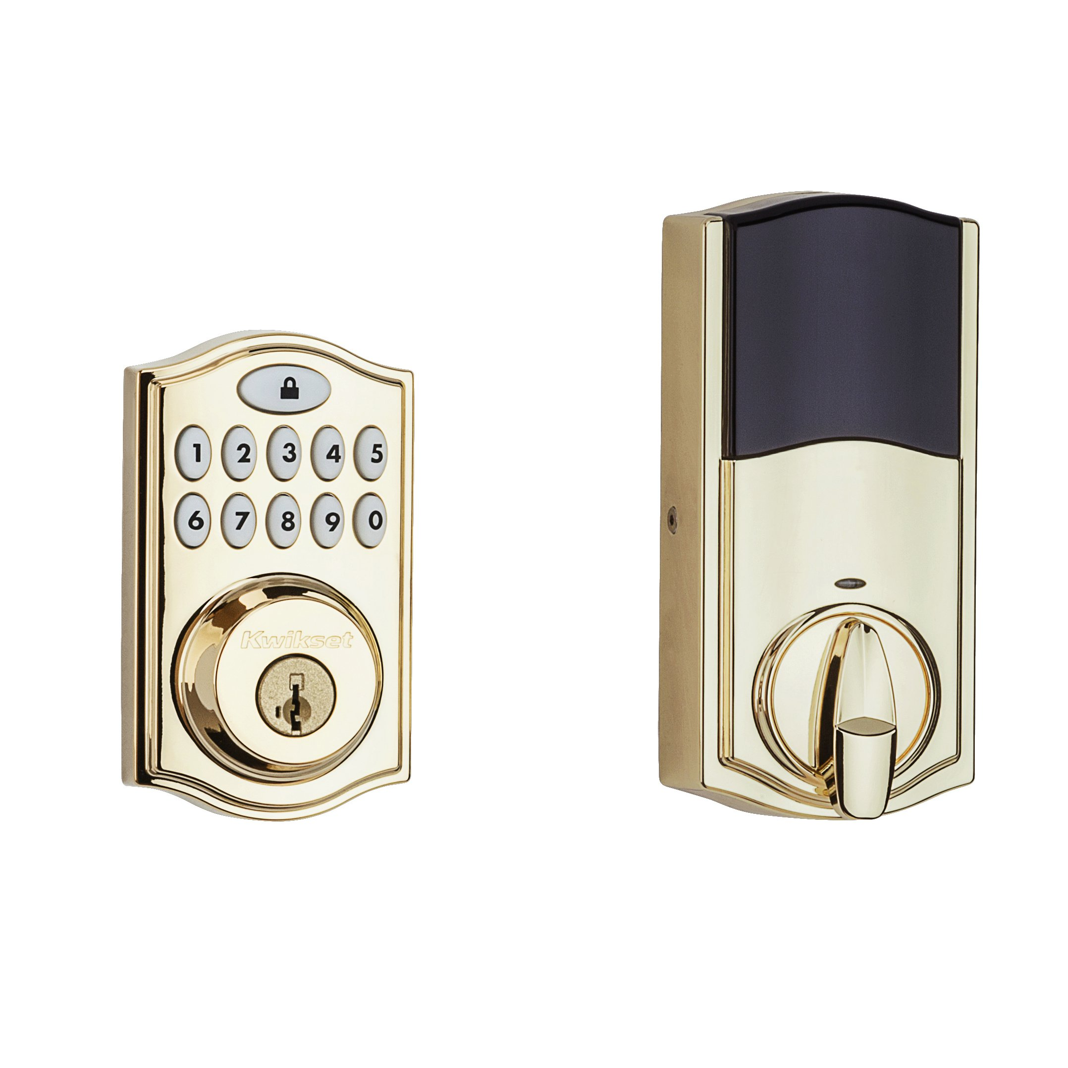 Kwikset 914 Z-Wave SmartCode Electronic UL Deadbolt, Works with Amazon Alexa via SmartThings, Wink, or Iris featuring SmartKey in Polished Brass