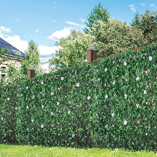 GardenKraft 26150 2.6 m x 0.7 m seto Artificial con Hojas de Flor y Hoja de peonía | Blindaje con Paneles, Verde: Amazon.es: Jardín
