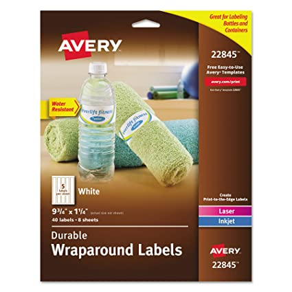 Amazoncom Avery Durable Waterproof Wraparound Water Bottle Labels - Avery water bottle template
