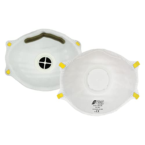 ACE 10 x FFP1 Dust Masks with Valve, Protection Against Particles, Smoke, Aerosols and Dust, EN149 - Dust Mask Respirator Respiratory Protection