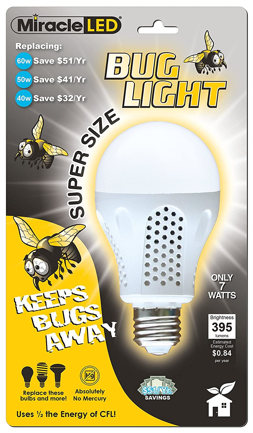 MiracleLED 605014 7 Watt Super Bug Light, Bug Free Porch And Patio Light,  Yellow     Amazon.com