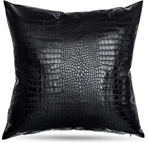 HDDahua Black Crocodile Skin Faux Leather Pillow Cover 18 x 18 inch Thick Black Leather Throw Pillow case, Simple Modern Boho Decor Cushion Covers for Sofa Bed Couch Chair Floor