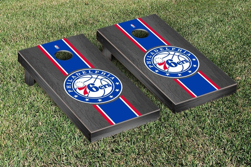 Philadelphia Sixers 76ers NBA Basketball Cornhole Game Set Onyx Stained Stripe Version by Victory Tailgate