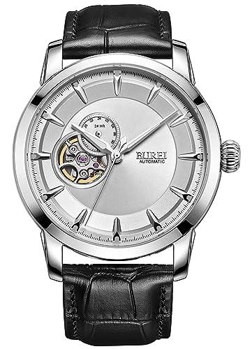 BUREI 24 horas reloj de y pantalla de movimiento automático reloj de pulsera con correa de cuero negro para hombre: Amazon.es: Relojes