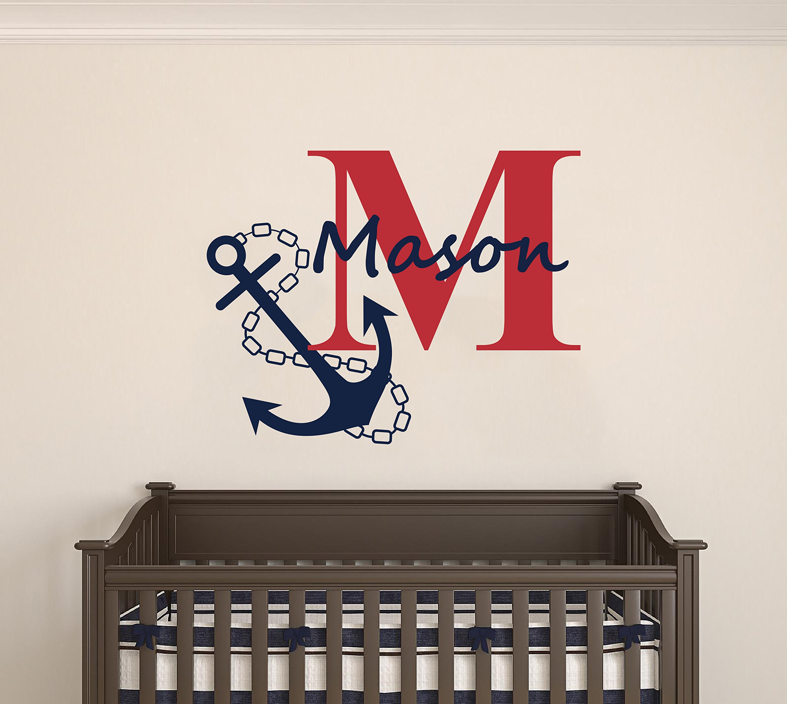 Custom Name Anchor & Initial - Baby Boy/Girl Wall Decal Nursery for Home Bedroom Children (MM49) (Wide 22'' x 30'' Height)