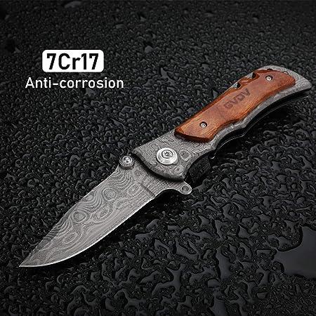 Amazon.com: GVDV cuchillo plegable de bolsillo con afilador ...