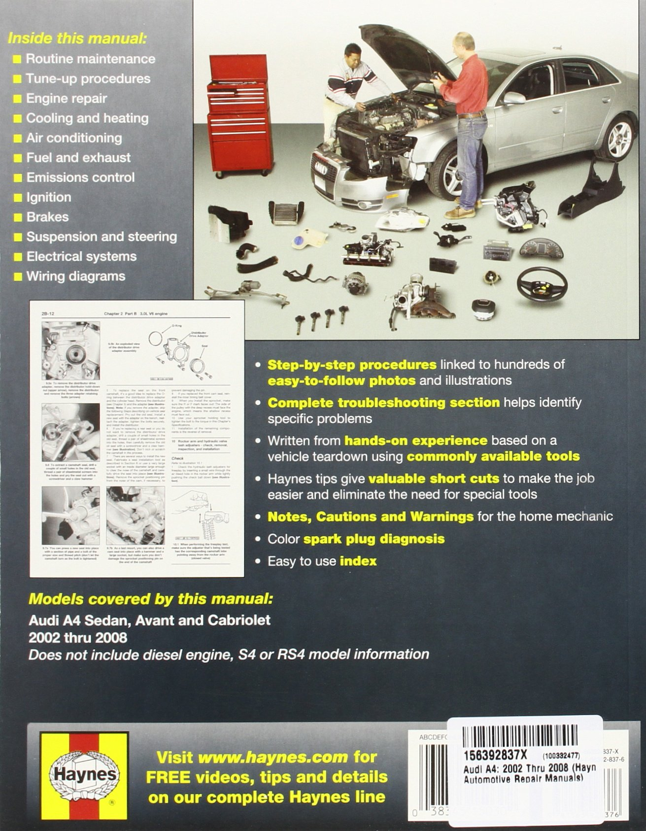 Audi A4 02 08 Haynes Repair Manual Paperback Ht Motor Wiring Diagram Publishing 9781563928376 Books
