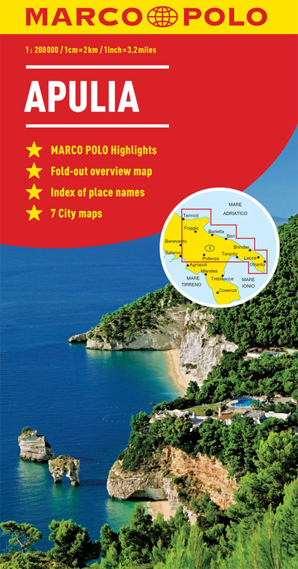 Apulia Puglia Italy Marco Polo Map Marco Polo Maps Amazoncouk