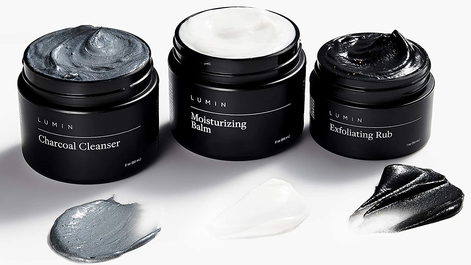 The Classic Maintenance Collection for Men: 3 Piece Kit to Cleanse, Hydrate, and Renew Skin - Includes Moisturizing Balm, Exfoliating Rub, and Charcoal Cleanser - Achieve Your Best Look with Lumin